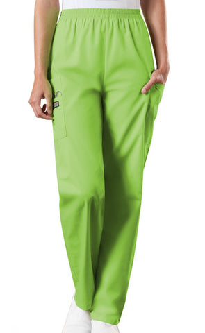 Cherokee Workwear Natural Rise Tapered LPull-On Cargo Pant 4200 Lime Green LMGW