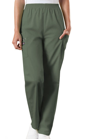Cherokee Workwear Natural Rise Tapered LPull-On Cargo Pant 4200 Olive OLVW