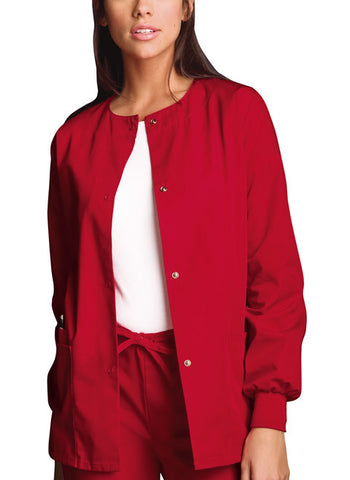 Cherokee Workwear Snap Front Warm-Up Jacket 4350 Red REDW