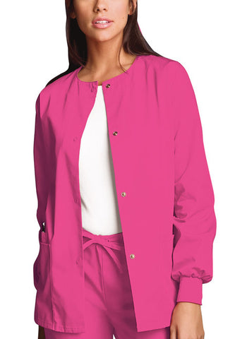 Cherokee Workwear Snap Front Warm-Up Jacket 4350 Shocking Pink SHPW