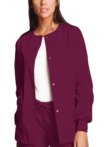 Cherokee Workwear Snap Front Warm-Up Jacket 4350 Wine WINW