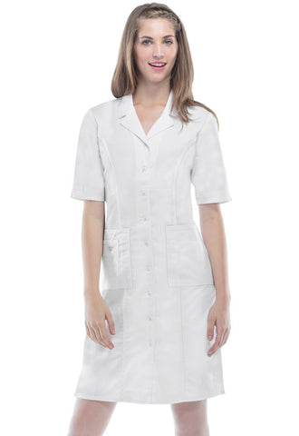 Cherokee Workwear Button Front Dress 4508 White WHTW