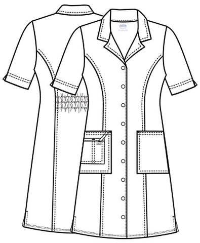 Cherokee Workwear Button Front Dress 4508 Pewter PWTW