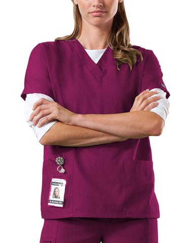 Cherokee Workwear V-Neck Top 4700 Wine WINW