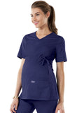Cherokee Workwear Maternity V-Neck Knit Panel Top 4708 Navy NAVW