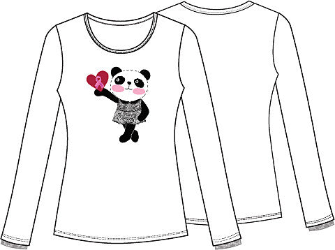 "Cherokee Workwear """" Long Sleeve Knit Tee 4709 Little Miss Panda MIPA"