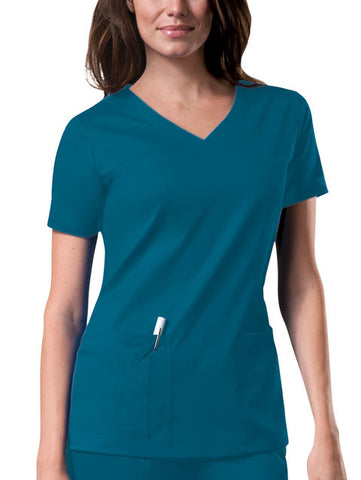 Cherokee Workwear V-Neck Top 4727 Caribbean Blue CARW