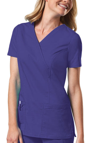 Cherokee Workwear Mock Wrap Top 4728 Grape GRPW