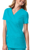 Cherokee Workwear Mock Wrap Top 4728 Turquoise TRQW