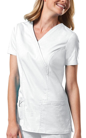 Cherokee Workwear Mock Wrap Top 4728 White WHTW
