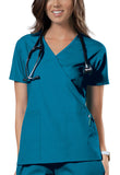 Cherokee Workwear Mock Wrap Top 4741 Caribbean Blue CARW