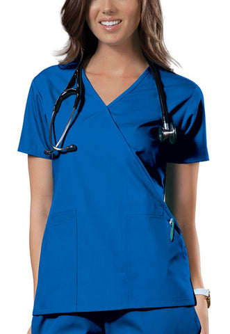Cherokee Workwear Mock Wrap Top 4741 Royal ROYW