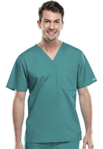 Cherokee Workwear Men's V-Neck Top 4743 Teal Blue TLBW