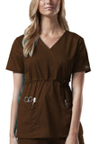 Cherokee Workwear Mock Wrap Top 4748 Chocolate CHCW