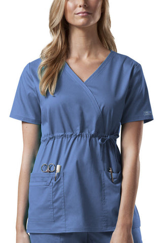 Cherokee Workwear Mock Wrap Top 4748 Ciel CIEW