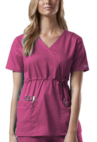 Cherokee Workwear Mock Wrap Top 4748 Shocking Pink SHPW