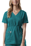 Cherokee Workwear Mock Wrap Top 4748 Teal Blue TLBW