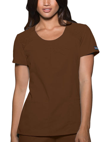 Cherokee Workwear Round Neck Top 4761 Chocolate CHCW