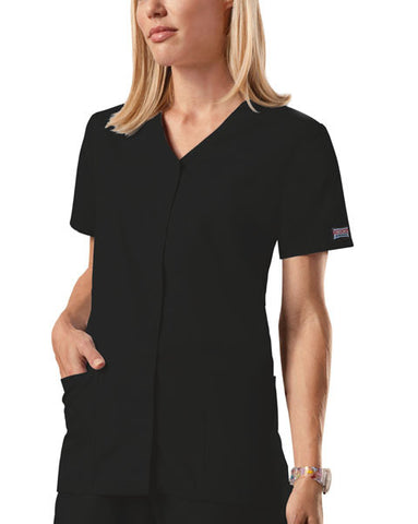 Cherokee Workwear Snap Front V-Neck Top 4770 Black BLKW