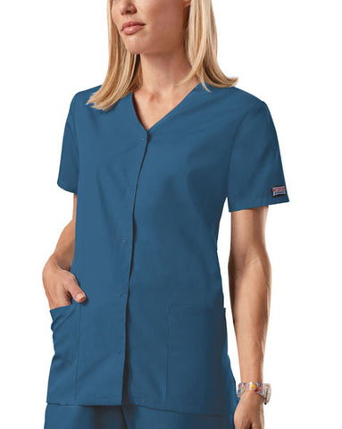 Cherokee Workwear Snap Front V-Neck Top 4770 Caribbean Blue CARW