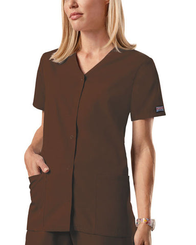 Cherokee Workwear Snap Front V-Neck Top 4770 Chocolate CHCW