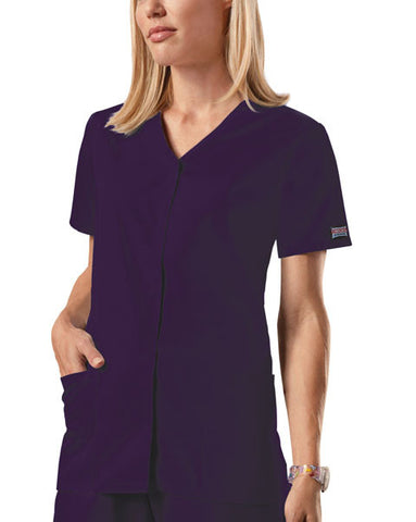 Cherokee Workwear Snap Front V-Neck Top 4770 Eggplant EGGW