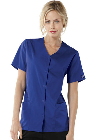 Cherokee Workwear Snap Front V-Neck Top 4770 Galaxy Blue GABW
