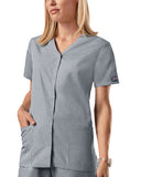 Cherokee Workwear Snap Front V-Neck Top 4770 Grey GRYW