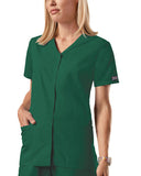 Cherokee Workwear Snap Front V-Neck Top 4770 Hunter HUNW