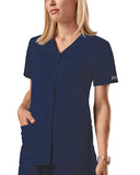 Cherokee Workwear Snap Front V-Neck Top 4770 Navy NAVW