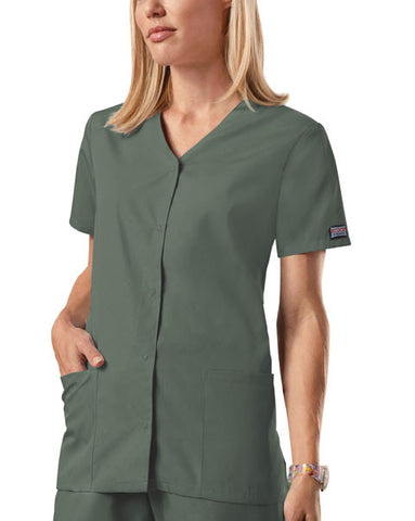 Cherokee Workwear Snap Front V-Neck Top 4770 Olive OLVW