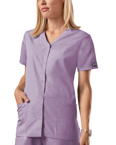 Cherokee Workwear Snap Front V-Neck Top 4770 Orchid ORCW