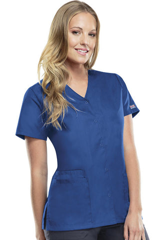 Cherokee Workwear Snap Front V-Neck Top 4770 Royal ROYW