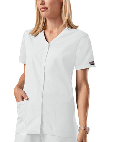 Cherokee Workwear Snap Front V-Neck Top 4770 White WHTW