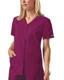 Cherokee Workwear Snap Front V-Neck Top 4770 Wine WINW