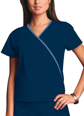 Cherokee Workwear Mini Mock Wrap Top 4800 Navy NAVW
