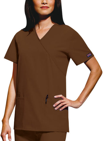 Cherokee Workwear Mock Wrap Tunic 4801 Chocolate CHCW