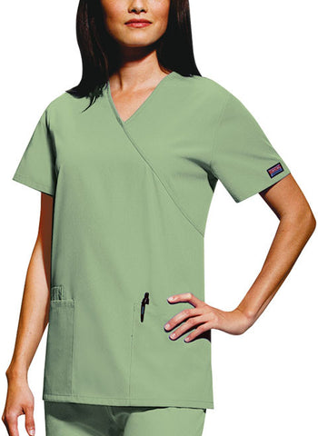 Cherokee Workwear Mock Wrap Tunic 4801 Sage Green SAGW