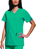 Cherokee Workwear Mock Wrap Tunic 4801 Teal Blue TLBW