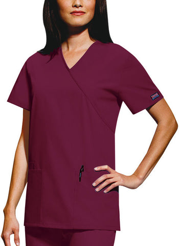 Cherokee Workwear Mock Wrap Tunic 4801 Wine WINW