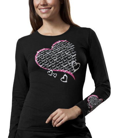 "Cherokee Workwear ""Healing Heart"" Long Sleeve Knit Tee 4819 Black BLKW"