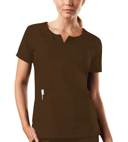 Cherokee Workwear Round Neck Top 4824 Chocolate CHCW