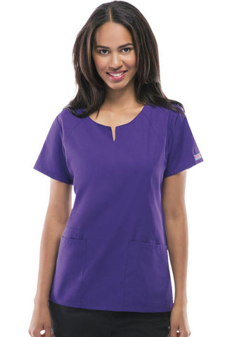 Cherokee Workwear Round Neck Top 4824 Grape GRPW