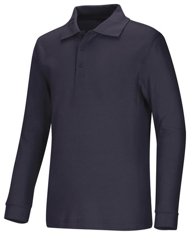 Classroom Uniforms Youth Unisex Long Sleeve Interlock Polo 58732 SS Navy SSNV