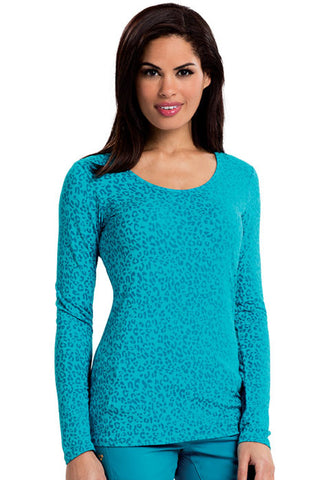 Careisma Long Sleeve Underscrub Knit Tee CA608X13 So Haute Aqua Rush SHAR