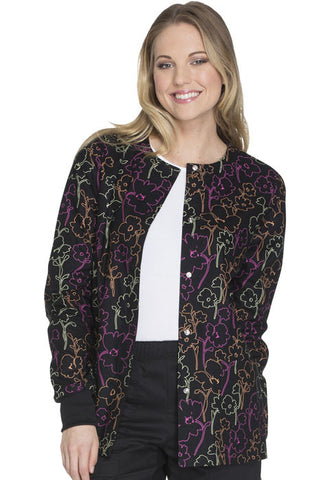 Cherokee Snap Front Warm-up Jacket CK301 Floral In The Dark FLDK