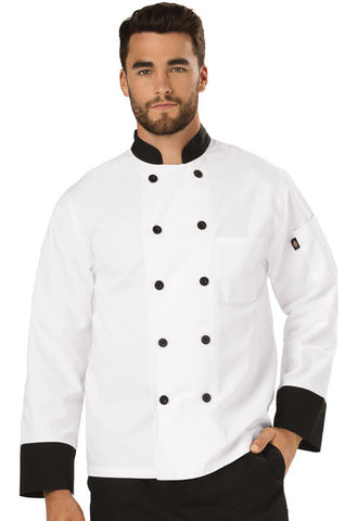 Dickies Chef Unisex Classic 10 Button Chef Coat DC46 White with Black Trim WTBK