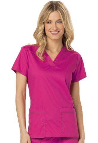 Dickies V-Neck Top DK800 Hot Pink HPKZ