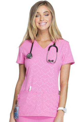 "HeartSoul ""Beat of My Heart"" V-Neck Top HS627 Beat Of My Heart Pink Party BTPY"