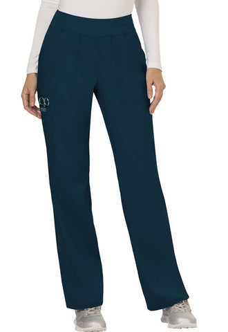 Cherokee Workwear Mid Rise Straight Leg Pull-on Pant WW110 Caribbean Blue CAR